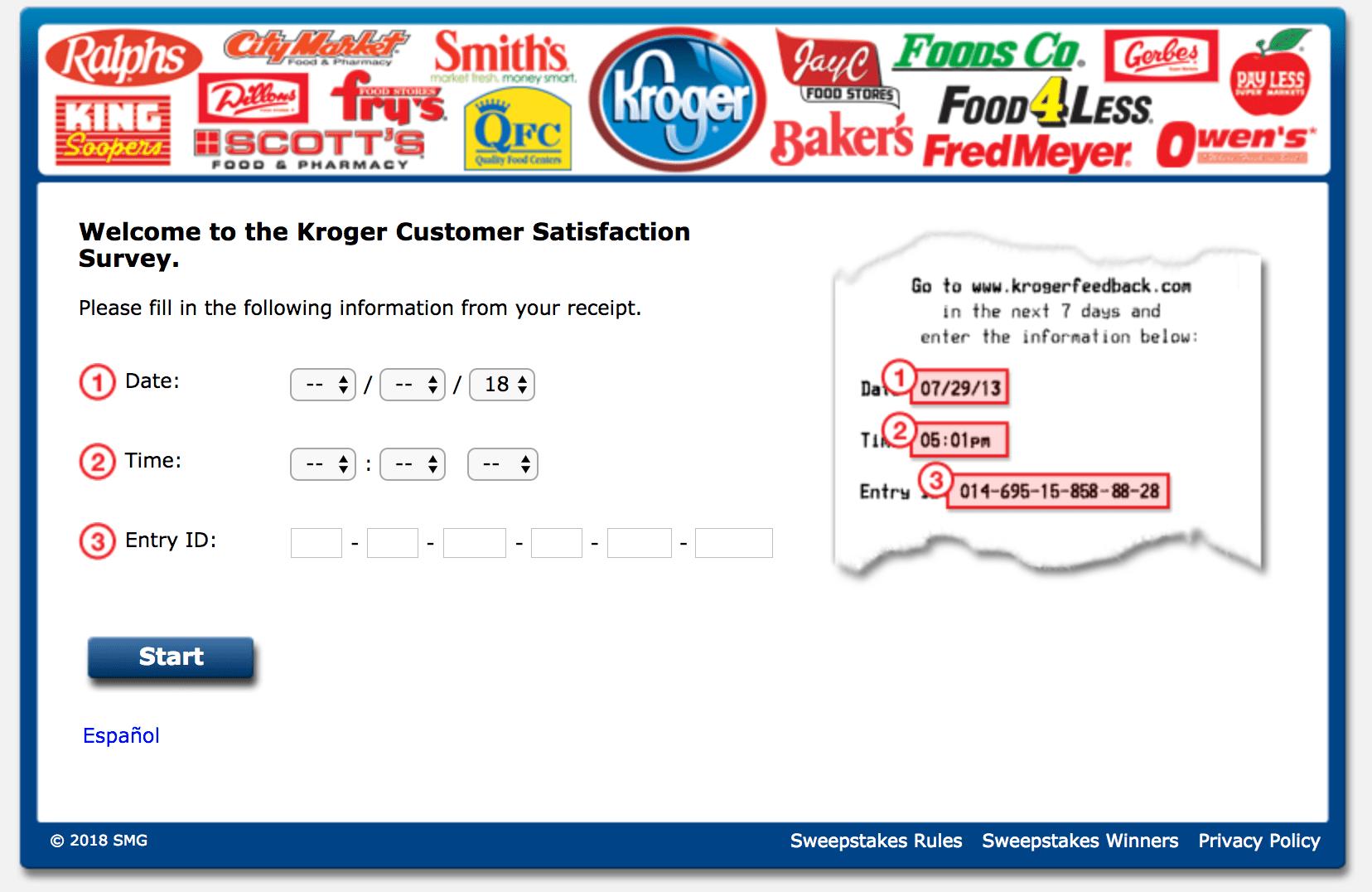 Krogerfeedback survey guidelines