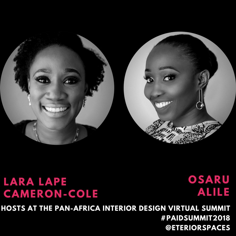 The Pan Africa Interior Design Virtual Summit -Moderators Lape Lara Cameron-Cole and Osaruese Alile