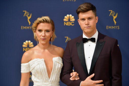 "Scarlett Johansson and ""Saturday Night Live"" co-head writer Colin Jost"