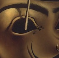 Salvador Dalí. Detall de Autoretrat tou amb bacó fregit.