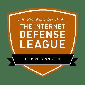 Escudo de acreditación para la Liga de la Defensa de Internet