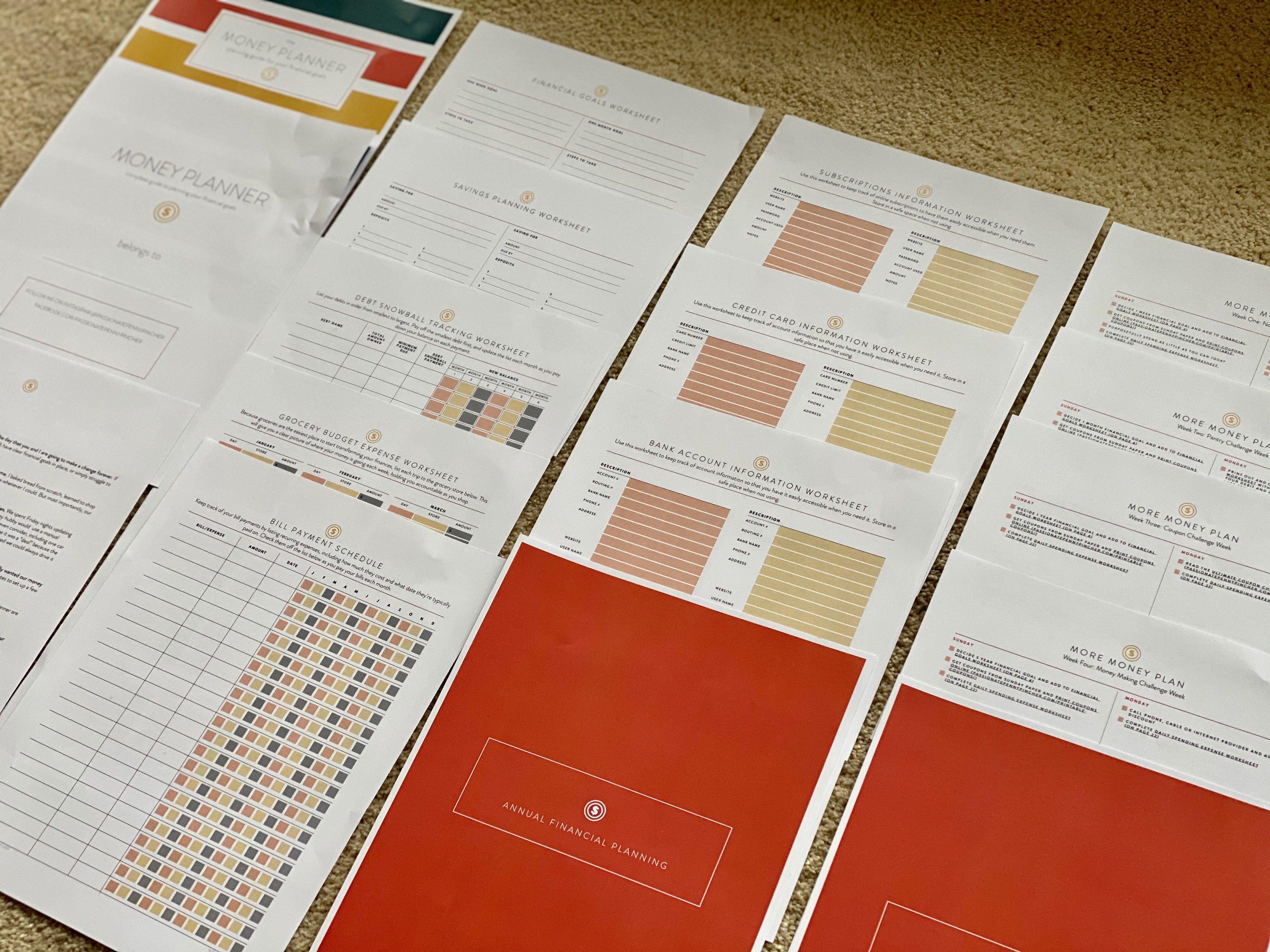 Money Planner Worksheets Pack Download
