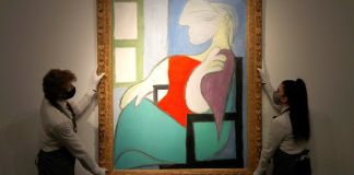 """The painting """"Woman Sitting Near a Window (Marie-Therese)"""" by Pablo Picasso sold for $103.4 million at Christie's in New York on Thursday."""