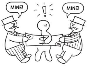 Cartoon, legal self-help, debt collection lawsuit, ownership of debt