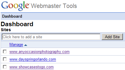 Webmaster Tools Dashboard