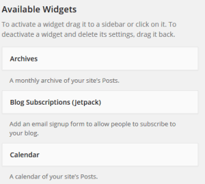 wordpress available widgets