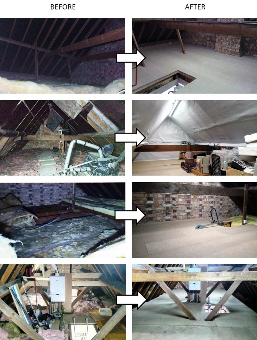 to show before and after loft installations