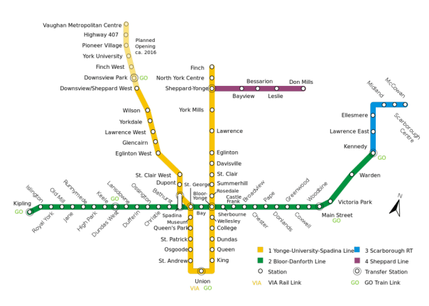 map of the toronto subway system