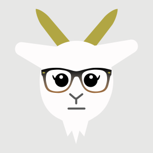 white goat with long eyelashes and tortoiseshell glasses