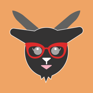 black goat with red statement glasses