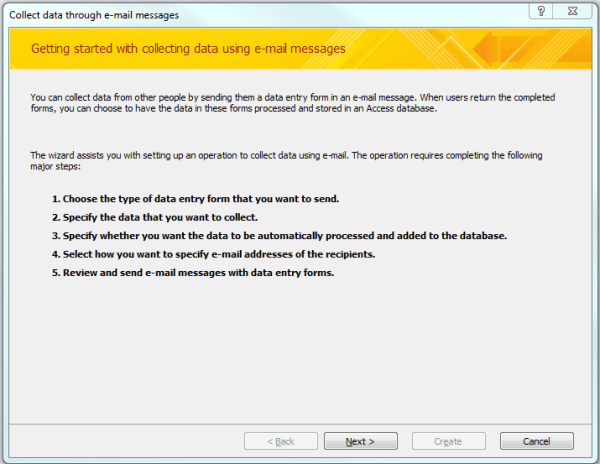 How to collect data in MS Access via email with Outlook