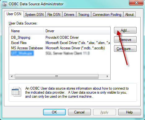 add a new odbc data source