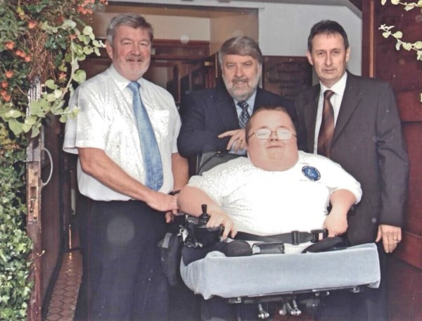 Richard Jones and Wynne Williams (Cymru Healthcare) joined by Alun Evans and Roy Noble at the Launch of Accessible Wales