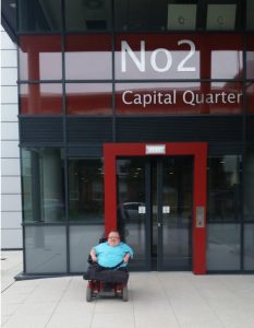 Richard Jones outside Capital Quarter 2, Public Health Wales Office