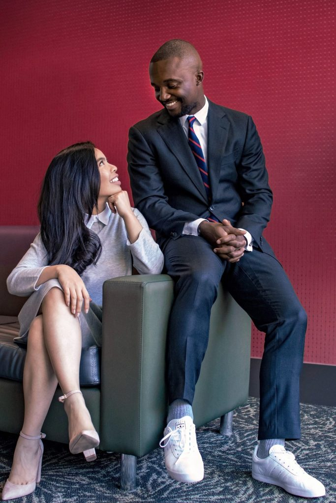 A couple smiles at each other. They are feeling much happier since they started neurodiverse couples counseling in Houston, Texas with Accessible Career.