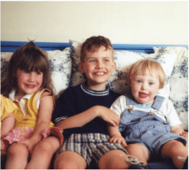 Children sitting on couch