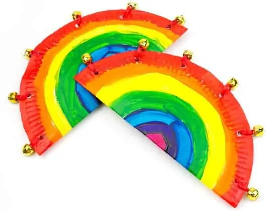 rainbow paper plate tambourine