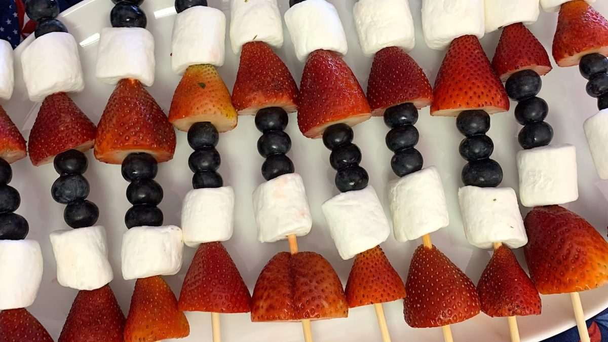 strawberry, blueberry, and marshmallow skewers