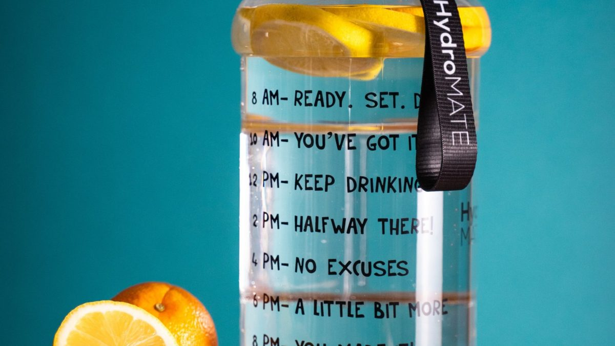 water bottle with lemon and orange slices