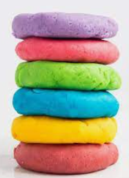 stack of colorful play dough