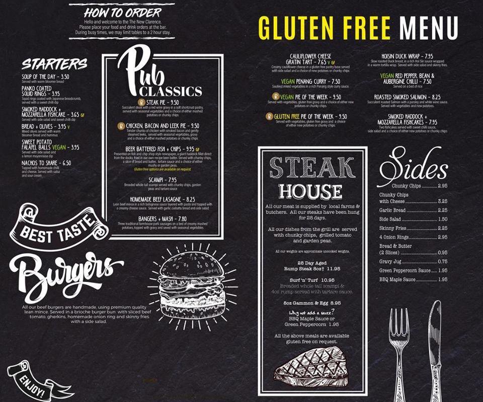 new clarence menu