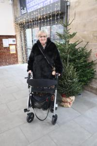 Picture of me with the rollator stood infront of a christmas tree at Trinity Market Hull