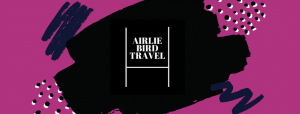 Airlie Bird Travel Club Logo Pink Background with Black and White