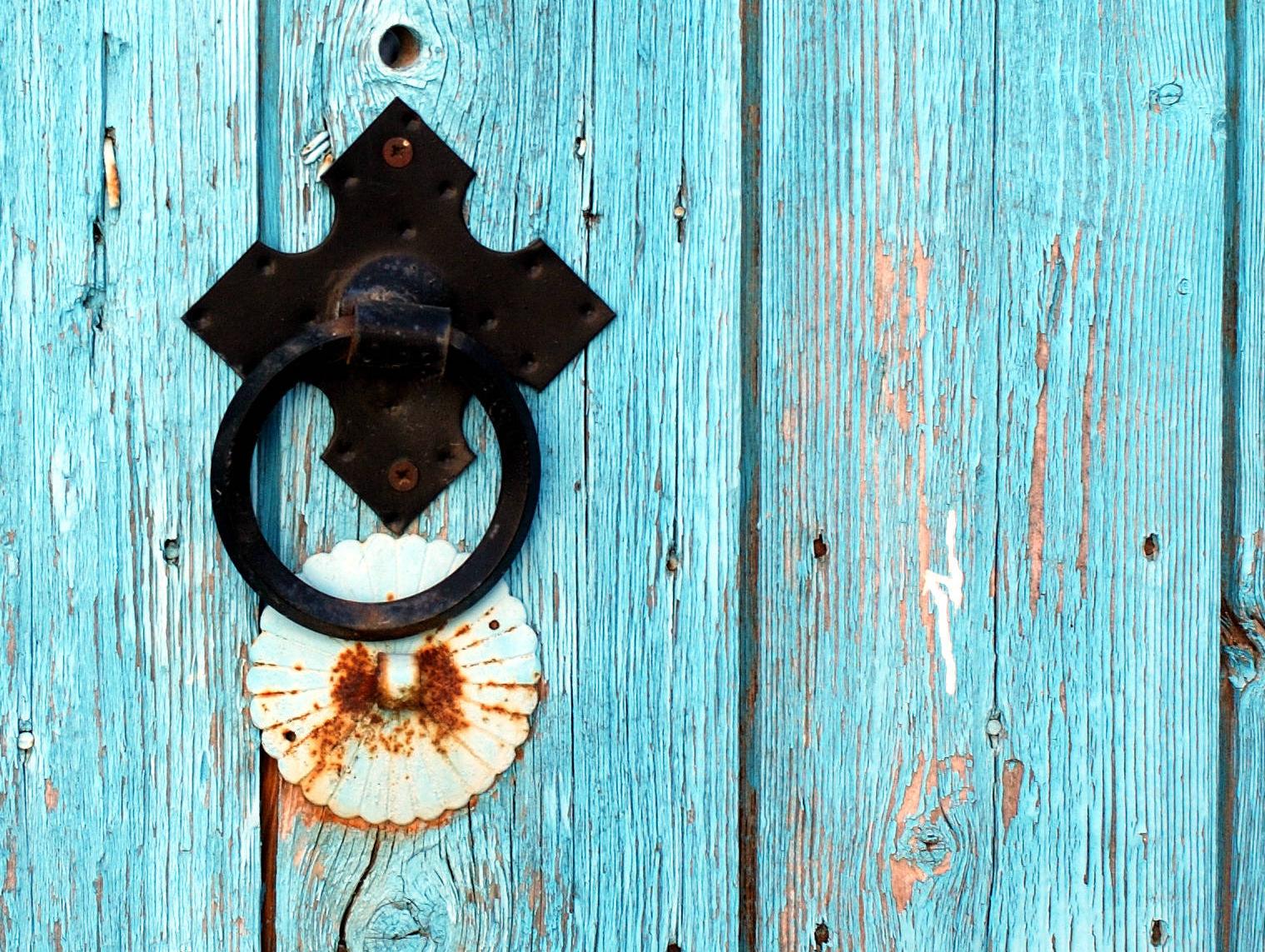 Crete blue door Greece
