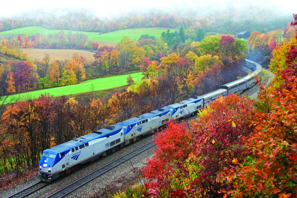 Amtrak train in the fall United States