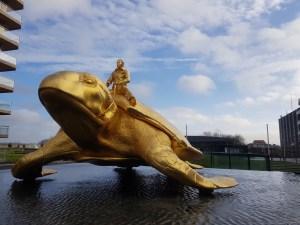 Golden turtle Nieuwpoort beach Belgium