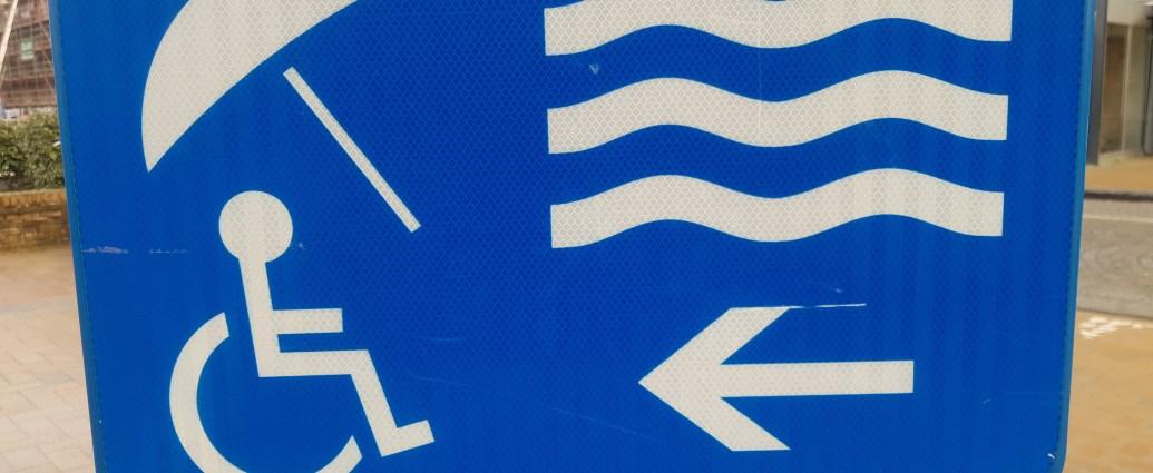 Belgium accessible beach sign