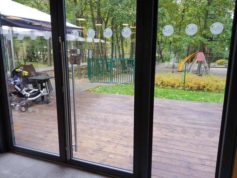 glass door using tactile markings in a restaurant