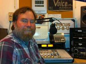Access Sacramento Radio Program Director Shane Carpenter in the home for KUBU-LP.