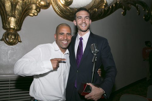 "Celebrity host Ahmed Hassan with Access Sacramento ""Power of Voice"" Honoree Basim Elkarra at Sacramento Has Taleent 2015. (Photo by Tia Gemmell Photography)"
