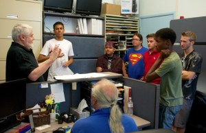 (From Left, Back Row) Access Sacramento's Richard Langley begins training for Youth Broadcast & Media Association members,  Myles Hailey, Cosumnes Oaks , Maury Montalvo and Dominic Herrera, Grant, Matt Binger and Cameron Clarke, Natomas Charter, and Slade Carpenter, Bear River, High School student participants.