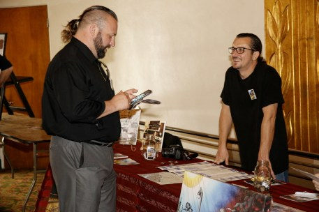"""Writer Phil D'Asaro from """"Death of Del Paso"""" (right) in the lobby of the Crest [Phil Kampel Photography]"""