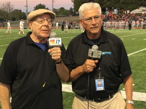 Access Sacramento announcers Will James (left) and Jim Dimino on the sidelines of Cougar Canyon at Del Campo High School.