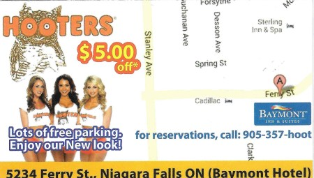 Hooters coupon card (back)