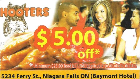 Hooters coupon card (front)
