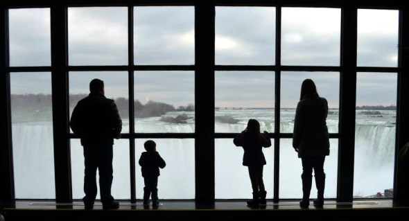 Family Overlooking Niagara Falls
