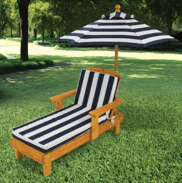 Patio Chaise Lounge With Umbrella