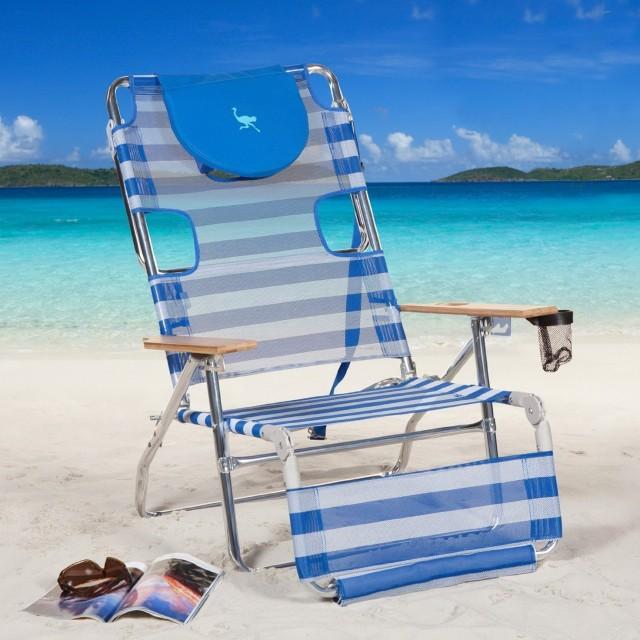 Ostrich Chaise Lounge Beach In Blue
