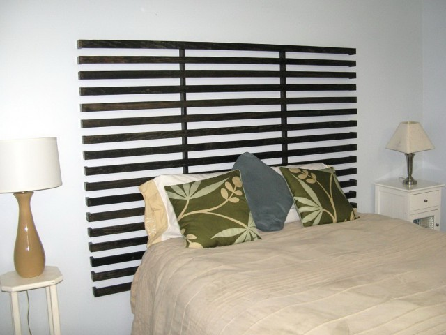 Dark Wood Slatted Headboard