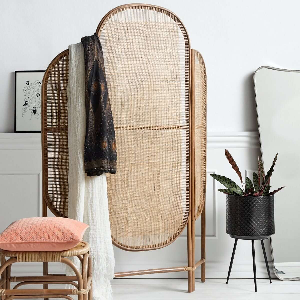 Nordal Bali Natural Rattan Room Divider Accessoies For The Home