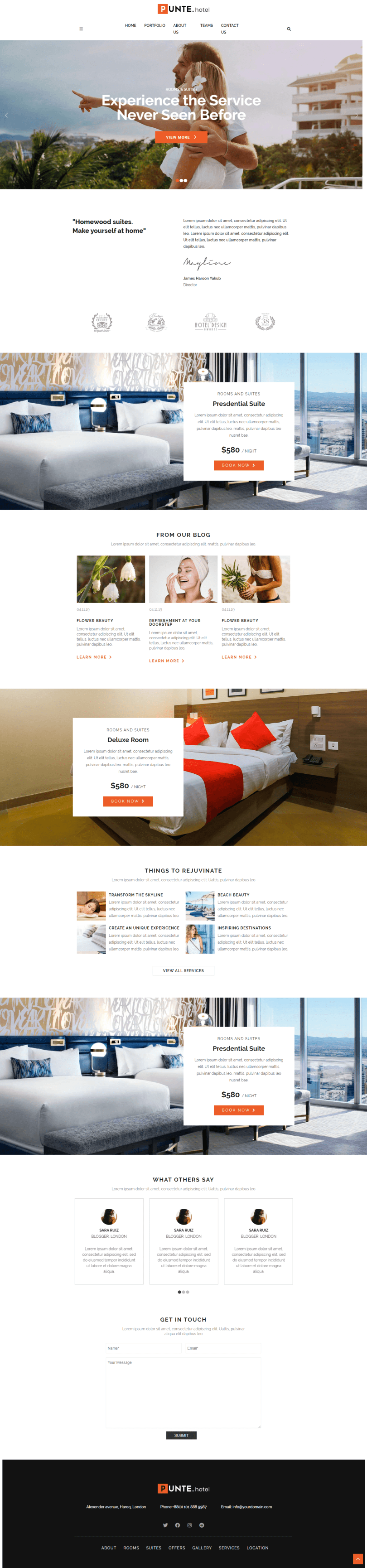 Punte Hotel Free WordPress Theme