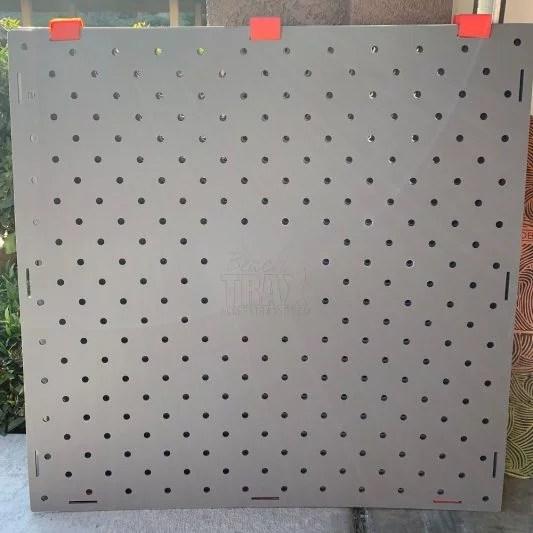 Grey Beach Trax panel with orange Velcro hinges.