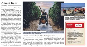 Image showing overview of a news article. The photo includes image of a blonde lady in a wheelchair on a pathway going to the beach.