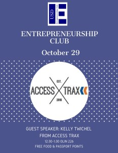 Flyer with indigo background showing Access Trax Logo and USD Entrepreneurship Club logo