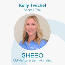 "Image shows flyer with a headshot of Access Trax CEO Kelly (a blonde woman) smiling. Text at the top says ""Kelly Twichel Access Trax"" and below the image says ""SHEEO US Venture Semi-Finalist."""
