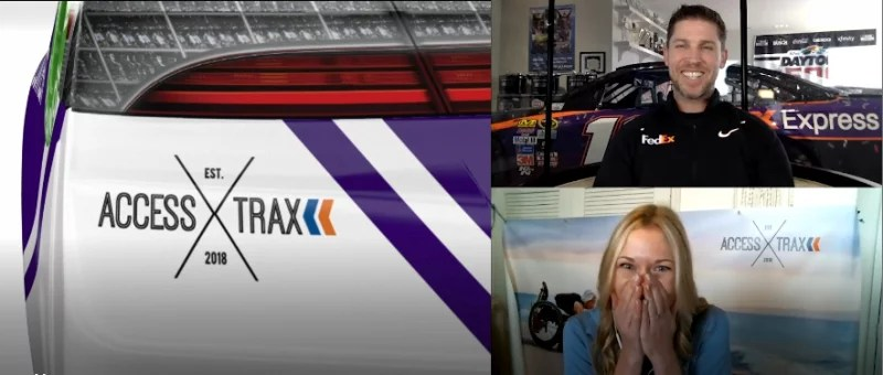 The image shows a 3-way split screen of NASCAR driver Denny Hamlin, Access Trax CEO Kelly Twichel, and an up close digital rendering of the left rear quarter panel of Denny's racecar showing the Access Trax logo. Denny is smiling and Kelly has her hands over her mouth in happy surprise.
